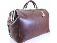 XL Real Italian Leather Holdall Weekend Duffel Weekend Cabin Travel Bag Case - Browm