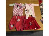 Selection of mini mouse baby girl clothes / babygros 0-3 months