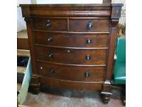 Victorian biw front mahogany chest of drawers
