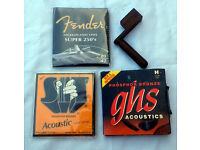 JOB LOT OF ACOUSTIC/ELECTRIC GUITAR STRINGS & WOODEN PEG WINDER