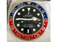 Rolex wall clock, Tel 07884-015528, GMT Pepsi, Top Quality metal clocks