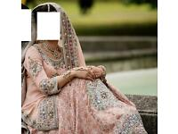 Almost BRAND NEW Pakistani Designer Bridal Lengha 3piece Peach Colour