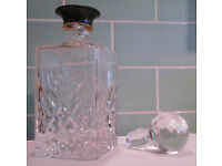crystal glass DECANTER with silver-plated neck