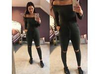 BNWT khaki jumpsuit sizes S/M - M/L