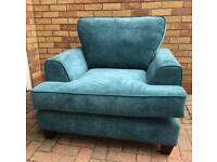 Teal fabric Armchair (New ex display )