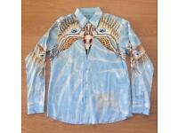 "Brand new Christian Audigier medium men's light blue ""Bird Eyes"" shirt. Decorated in rhinestones"