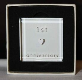 VALENTINES! Small 1st Anniversary Paper Weight (Boxed with no lid)