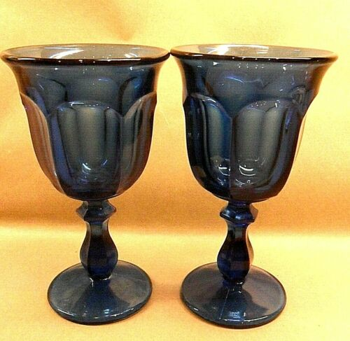 "2 IMPERIAL GLASS OLD WILLIAMSBURG WINE WATER STEMMED GLASSES 6 1/2"" T DARK BLUE"