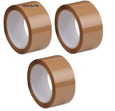 3 Rolls Packing Tape Heavy Duty Brown Strong For Packages