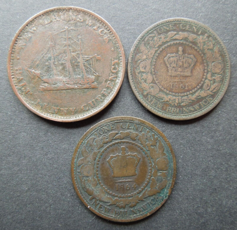New Brunswick Canada 1854 Half Penny 1861 1864 One Cent Victoria Coins