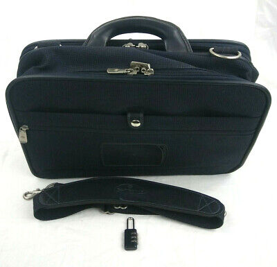 Samsonite Laptop Briefcase Navy Blue Bag with Shoulder Strap an Lock 16.5x10.5x7