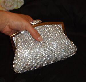 Wedding Bridal Silver Pillow Clutch Evening Jewelled Diamante Rhinestones Bag