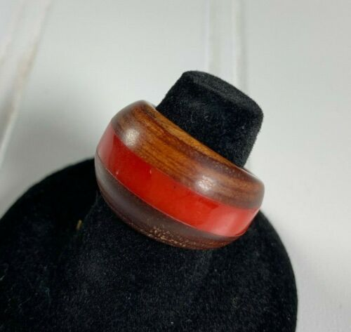 RARE Vintage Red Bakelite and Real Wood DOME Ring Womens Sz 7