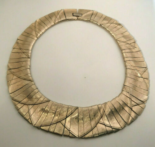 Vintage LES BERNARD Gold Tone Cleopatra Egyptian Revival Collar Bib Necklace