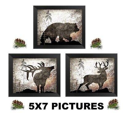 💗 5X7 Rustic Wildlife Pictures Elk Deer Bear Lodge Log Cabin Wall Hangings ()