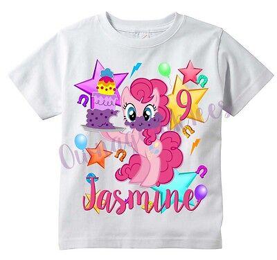 PINKIE PIE My Little Pony Custom T-shirt PERSONALIZE Birthday Add Name and Age](Pinkie Pie Birthday)