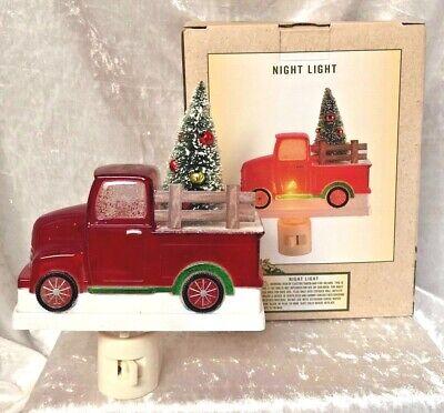 Christmas Red Truck With Decorated Tree - Night Light - C 7 Watt - New In Box