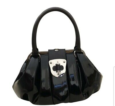Vintage Alexander McQueen Black Pleated Patent Leather Elvie Tote Bag.