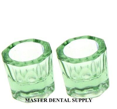 2 Dental Lab Glass Dappen Dish Green Acrylic Liquid Holder Art Nail Crystal Cup
