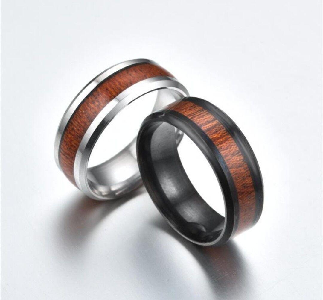 8MM Wood Inlay Titanium Steel Men Women Wedding Engagement