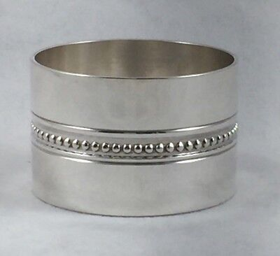 """Christofle France Silver Plate Beaded Napkin Ring - 1 1/8"""" Wide"""