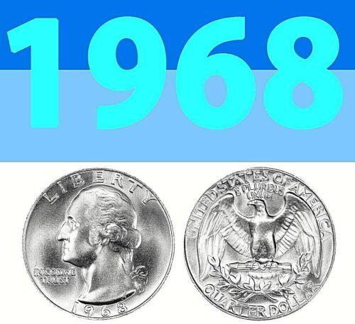 1968-P WASHINGTON BRIGHT CLEAR UNCIRCULATED QUARTER===BU===C/N===