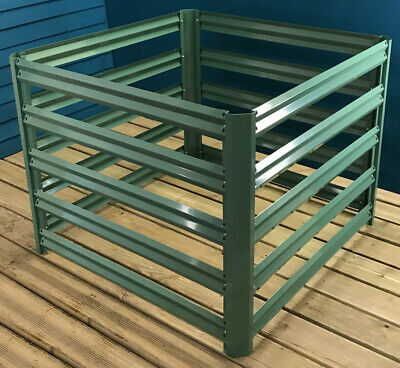 Metal Slatted Garden Composting Composter in Green (90cm x 70cm)