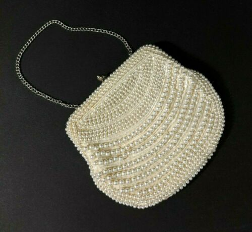 Vintage Faux Pearl Evening Clutch Purse Bag Ivory Silver Tone Chain Clasp Mirror
