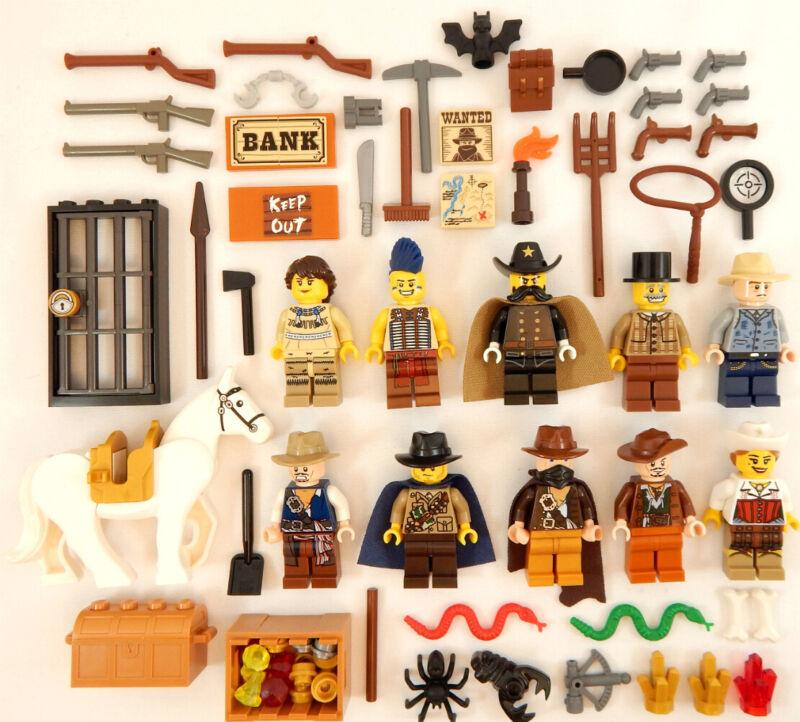 LEGO Western Cowboys Bandit 1 Black Bart Bad Guy Minifig w//Black Horse 6765