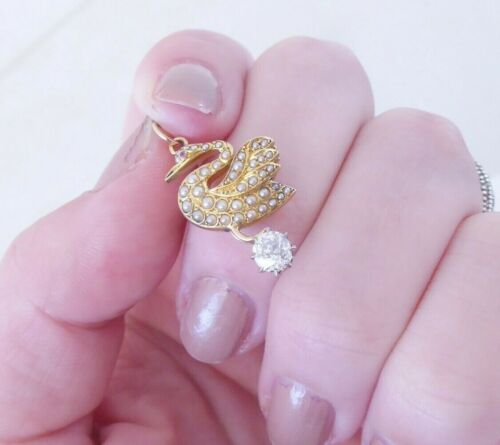18ct gold old cut diamond natural seed pearl swan pendant, Victorian