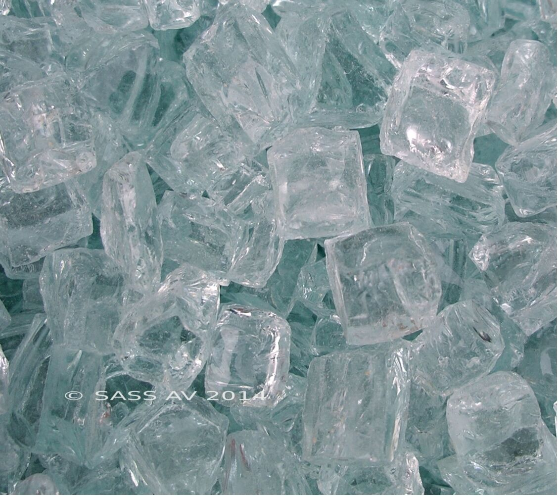 """10 LBS CHUNKY ~1/2"""" CLEAR FIRE GLASS Fireplace Crystals Fire"""