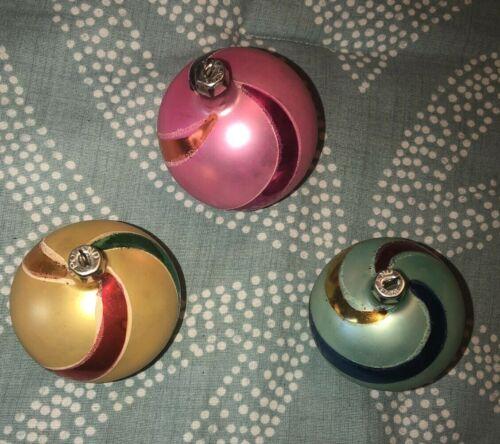 3 Vintage Swirl Stripe Painted Christmas Tree mercury glass Ornament-Poland