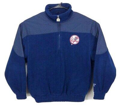 VTG Logo Athletic New York Yankees Blue 1/2 Zip Fleece Jacket Size Medium