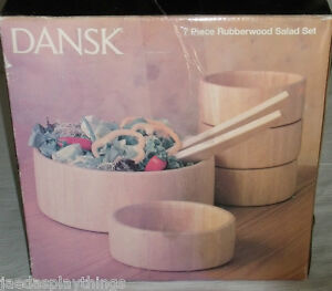Dansk-Wood-Salad-Set-Rubberwood-Jens-Quistgaard-7-Pcs-Box-FREE-US-Shipping