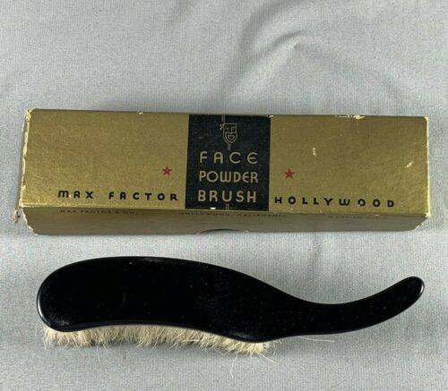 Vtg Max Factor Face Powder Brush With Box