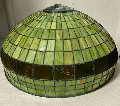 """VTG MISSION GREEN & AMBER STAINED GLASS LEADED LAMP SHADE - BARLEY TWIST 19 1/2"""""""