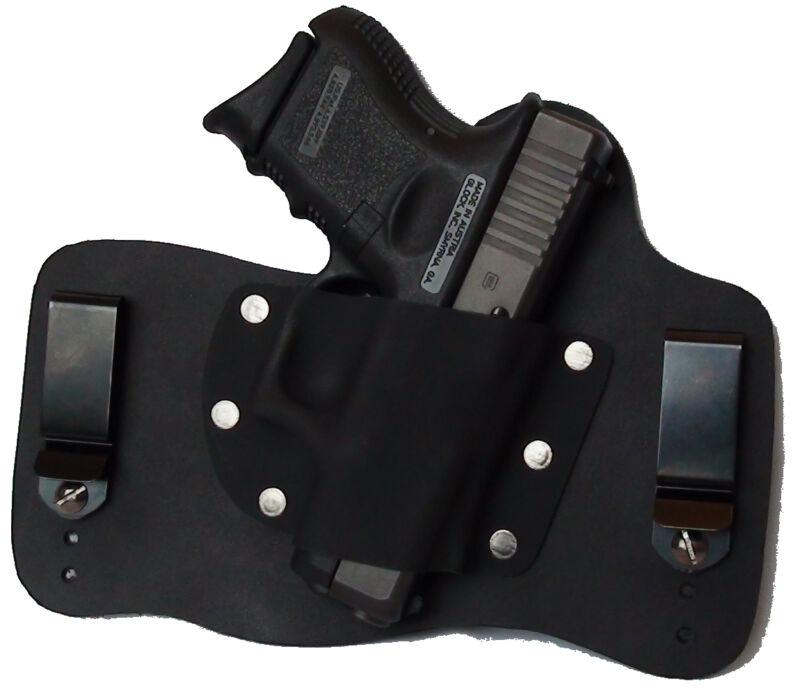 FoxX Leather & Kydex IWB Holster Glock 26, 27 & 33 Hybrid Holster Black RH Right