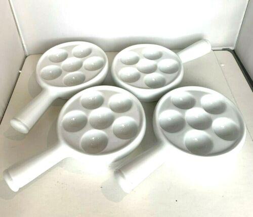 4x WILLIAMS SONOMA Frech Porcelain ESCARGOT Dishes Plates Egg Tray