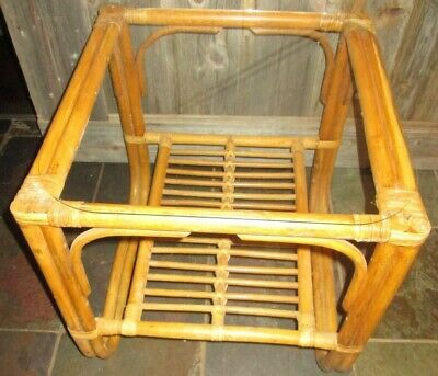 Vintage  Bamboo Rattan Wicker Glass Top Coffee / End / Side Table mcm Albini Glass Rattan End Table
