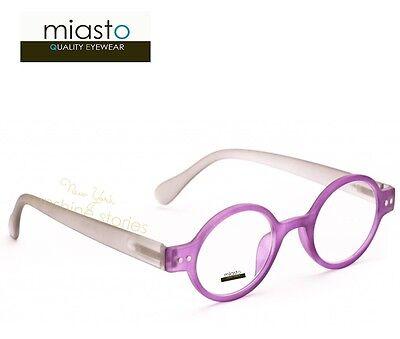 """MIASTO """"CIAO ITALY"""" SMALL RETRO ROUND OAVL READER READING GLASSES +2.75 PURPLE"""