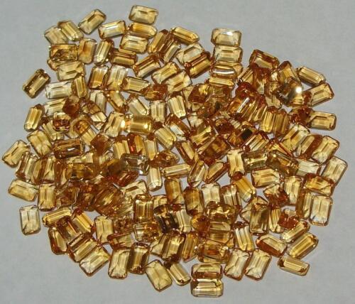 5x3mm 2 STONES Brazil Gold Citrine Emerald Cut