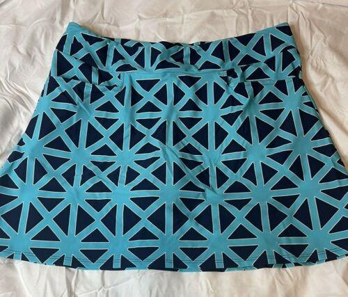 Jude Connally Sonia Black Blue Teal Geometric Skort w Pockets Jude Cloth Size L