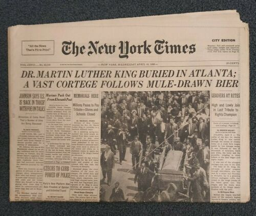 Martin Luther King Assassination - Funeral - 1968 New York Times Newspaper