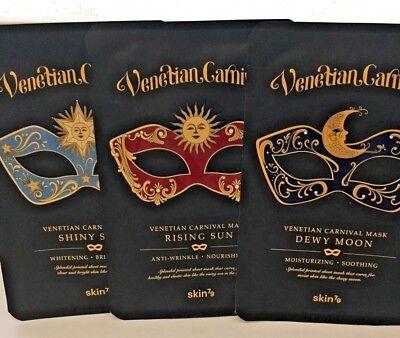 Korean Cosmetics Skin79 Venetian Carnival Essence Face Mask Sheet Pack 3PCS - Venetian Mask Makeup