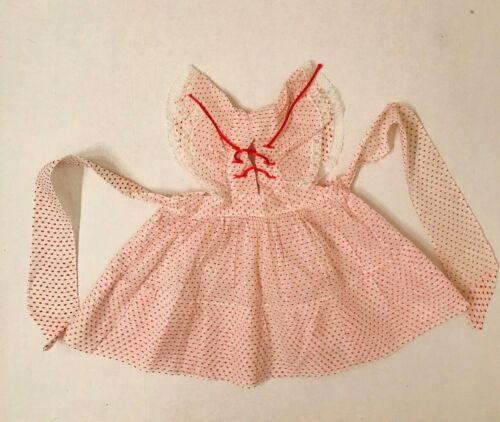 Vintage 1950s little girls pinafore or dress, red and white dotted swiss lace up