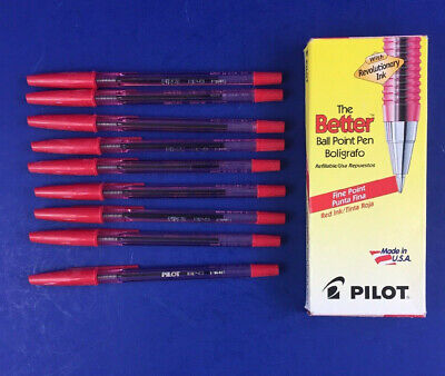 Pilot Bp-s Fine Ball Point Pens 9pcs Red Refillable Made In Usa