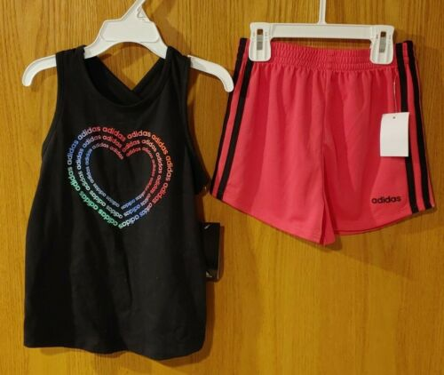 NWT Girls Adidas 2 piece Set Shorts & Tank Top size 6  -2390