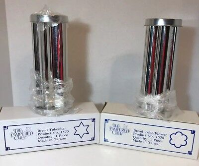 THE PAMPERED CHEF BREAD TUBES STAR & FLOWER 2 Tubes New In Box NO.1550/1570/NEW