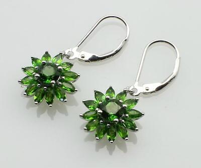 Silber-Ohrringe mit grünem Chromdiopsid in Blüten-Design - Gemini Gemstones