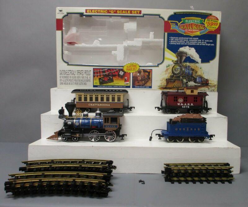 New Bright 376 Electric Rail King G Gauge Steam Train Set EX/Box